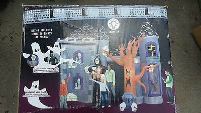 Rare Gemmy Airblown Inflatable 17' Halloween Haunted House Castle Walkthru Sound