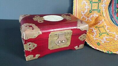 Old Chinese Redwood Jewelry Box with Stone Inlay & Brass Corners and fittings…