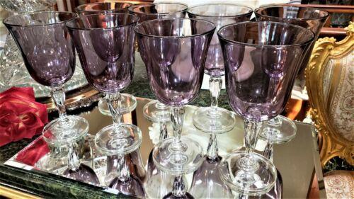 8 BEAUTIFUL 14 oz Wine Glasses Goblets AMETHYST Cups & Clear TWIST STEMS U.S.A.!