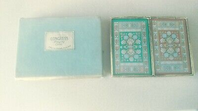 Vintage Congress Playing Cards Double Deck Box Floral Missing 2 Cards Cel-U-Tone
