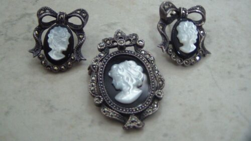 925 Cameo Set, Marcasites, Mother of Pearl and Onyx Cameos