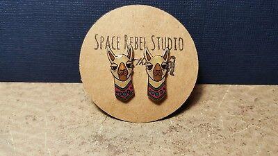 Cute Boho Colorful Peruvian No Drama Llama Stud Earrings  Kawaii Alpaca - Llama Jewelry