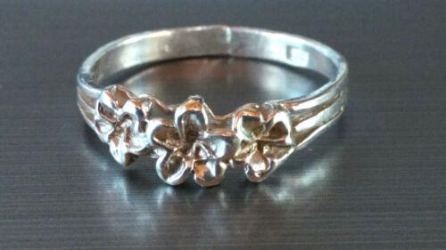 Sterling Silver Hawaiian Three Plumeria Ring Size 7 3/4
