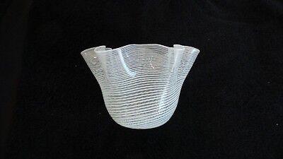 Venetian LATTICINO Swirl Handkerchief Vase, Mid-Century Murano Art Glass