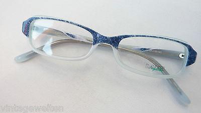 Brillen Damenbrille Jeanslook blau Plastikfassung preiswert blau-weiß Grösse M