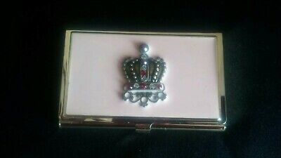 Beautiful Pink Wjeweled Crown Business Card Holder Brass Plated