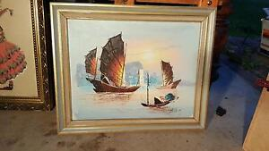Beautiful boat peice of decorative art in a nice wooden frame St Clair Penrith Area Preview