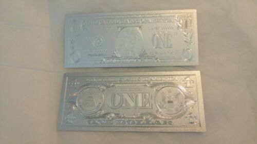 US .999 PURE SILVER FOIL ONE DOLLAR BILL BANK NOTE