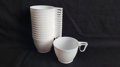 15 Plastic Disposable White Coffee Tea Mugs Cups Party Supplies 170ml (6 oz) New - Disposable Plastic Tea Cups