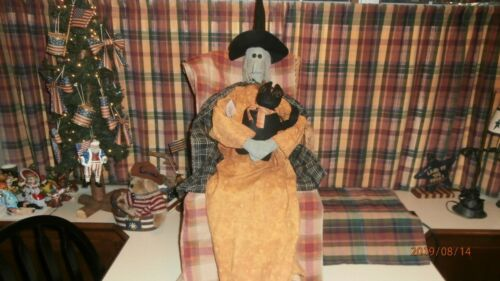 """Honey and Me Rare Halloween Witch Doll Holding Black Cat 53"""" inches with tags"""