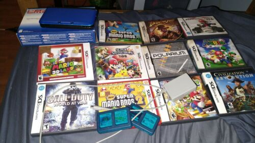 Nintendo 3ds Xl Blue Lot With Charger Games  - $190.00
