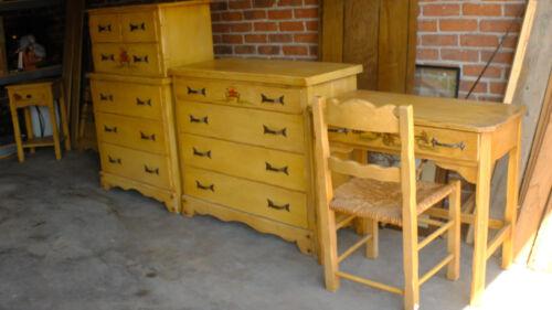 Spanish Revival Monterey Hand Painted Bedroom Set 2 Dressers Desk Bed End Table