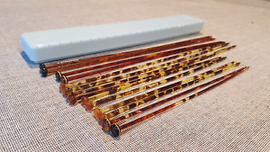 7 Pairs Faux Tortoise Shell Knitting Needles and Box Belrose Warringah Area Preview