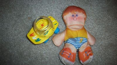 Vintage Fisher Price Smooshees Cuddler Cuties Tennis TIM & SKATEBOARD Soft Doll