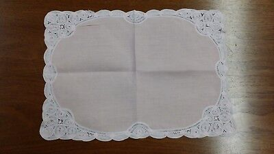 VINTAGE PINK BATTENBERG LACE LINEN RECTANGLE FABRIC DOILIE FREE SHIPPING for sale  Houston