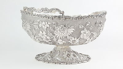 ANTIQUE CHINESE EXPORT SILVER SWING HANDLED BASKET - C1900 C.J. & Co
