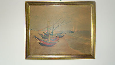 Vincent van Gogh - Boote von St.Maries  1888  Uralter Oeldruck !!!!!!!