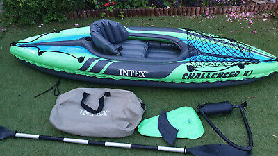 Intex K1 Challenger Inflatable Kayak used good with pump/oar/fin/bag