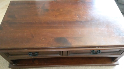 Wooden coffee table with two draws