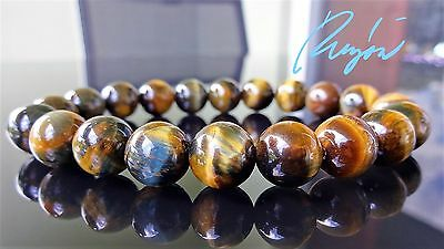 "Genuine Blue & Yellow Tiger Eye Bead Bracelet for Men Stretch 10mm - 8"" inch AAA"
