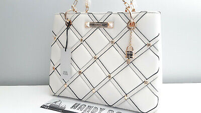 RIVER ISLAND Cream Quilted Studded Tote Bag BNWT