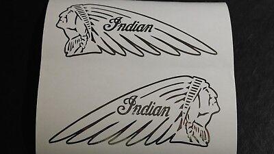 2x INDIAN Kopf Motorad Aufkleber in Chrom Folie Outline Aufkleber