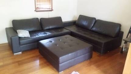 HUGE FULL LEATHER LOUNGE AND OTTOMAN IN EXCELLENT CONDITION Newtown Inner Sydney Preview