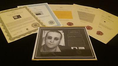 JOHN LENNON BEATLES Hair Lock w Shirt Piece Photo Certified Signed COA