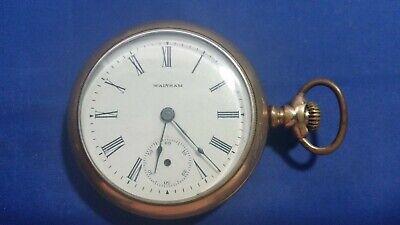 1899 Antique Waltham 7j 18s Open Face Pocket Watch GF Case