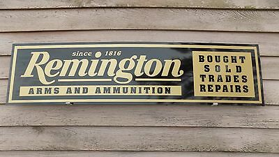 "EARLY STYLE REMINGTON FIREARMS DEALER SIGN/AD 1'X46"" ALUM. PANEL W/SCRIPT LOGO"