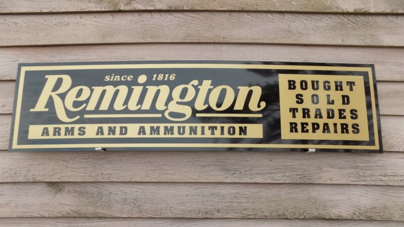 EARLY STYLE REMINGTON FIREARMS DEALER SIGN/AD 1
