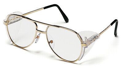 Pyramex Pathfinder Clear Gold Metal Retro Aviator Safety Glasses Side Shield