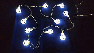 Boys Bedroom Battery Operated WHITE Football LED Light Lamp Festoon String NEW