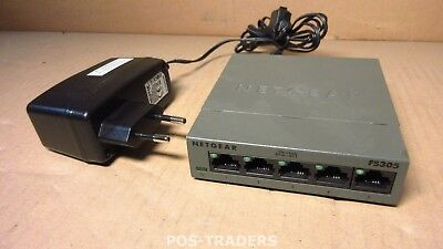 Netgear FS305 FS305-100 5 Port Fast Ethernet 10/100 Mbps Switch INCL PSU