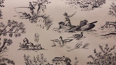 4 YDS P/KAUFMANN EDGEMONT CHARCOAL IVORY TOILE COTTON PIQUE' UPHOLSTERY FABRIC