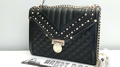 RIVER ISLAND Black Quilted Studded Cross Body Bag BNWT