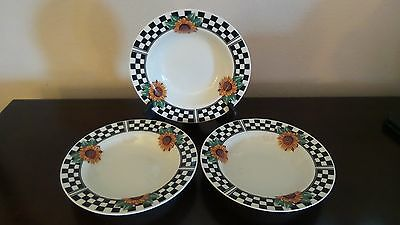 Tabletops Unlimited  Sunny Rimmed Soup Bowls X3 Sunflowers  Black Checked Rim