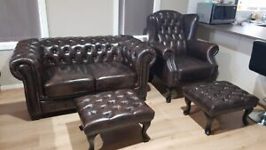 Chesterfield Sofa Lounge Suite Wingback Chair Ottoman