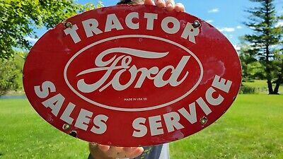 OLD VINTAGE DATED 1959 FORD FARM TRACTOR PORCELAIN ENAMEL GAS SIGN CARS & TRUCKS