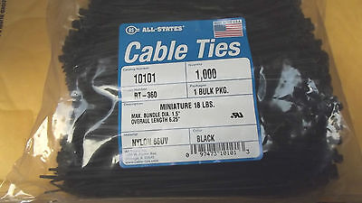 """1000 BLACK CABLE TIES,5.5""""NET,6.25""""OVER ALL LENGTH,18LBS TENSILE,US MADE.15.9."""