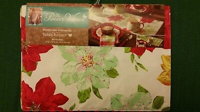 The Pioneer Woman~ Watercolor Poinsettia Table Runner -