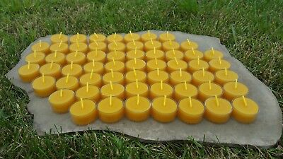 60 Hand Poured Beeswax Tealight Candles, All-natural Cotton Wick, Clear Cups Clear Cup Tealight Candles