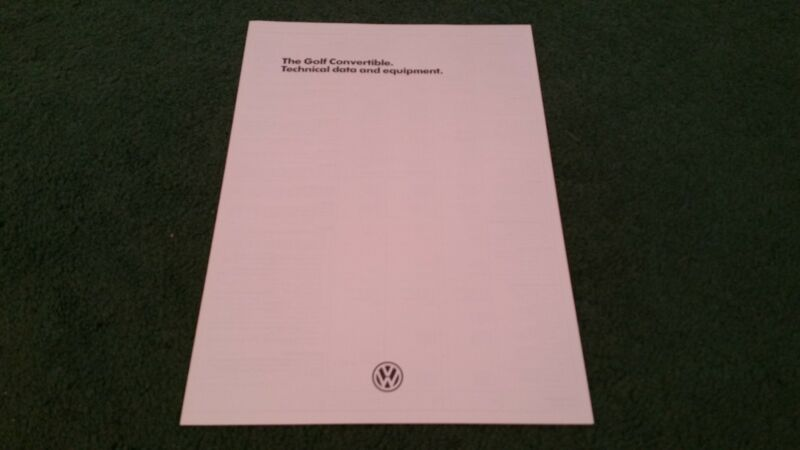 August 1984 VW GOLF CONVERTIBLE 75 90 112 BHP ENGLISH DATA & EQUIPMENT BROCHURE