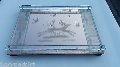 NICE ART DECO ETCHED GLASS MIRROR CHARGER DEER PLATEAU SERVING TRAY