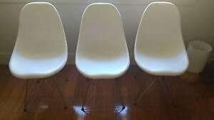 Replica Eames DSR Side Chair in Plastic (White) x3 Melbourne CBD Melbourne City Preview