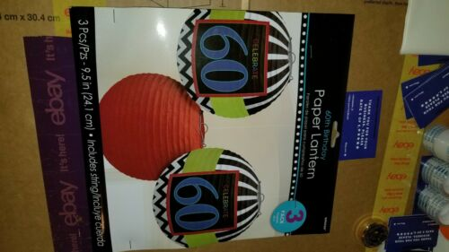 amscan 60th birthday paper lanterns 3pack new