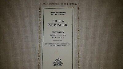 Great recordings of Century Fritz Kreisler- Beethoven Violin Concerto  [Vynl]LP  Fritz Kreisler Violin