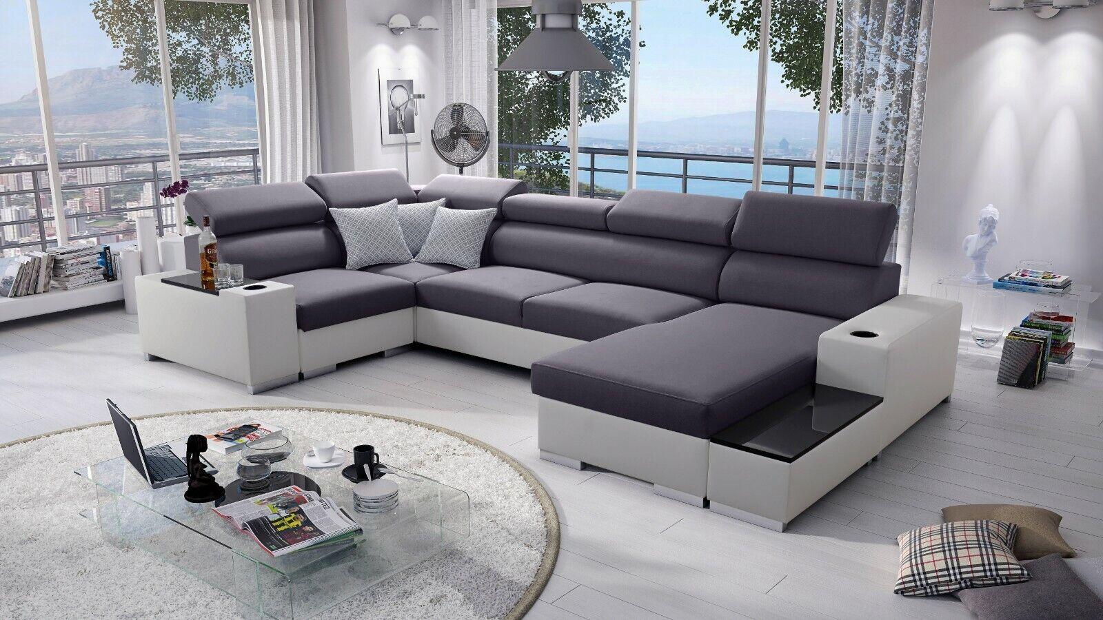 Ecksofa Passe mit Schlaffunktion Bettkasten Wohnlandschaft Gewebe Big Sofa XL 26