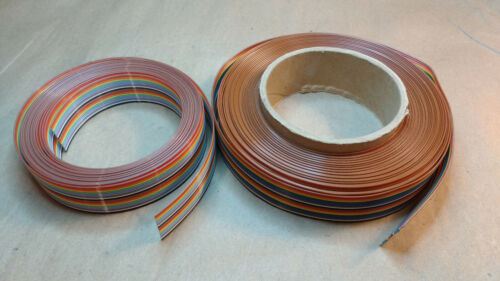 "Two rolls of Rainbow Ribbon Cable, 1"" Wide, 20 Conductor, 0.050"" Pitch"
