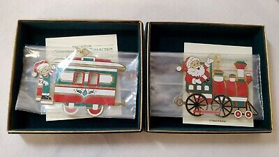Reed & Barton, Christmas Train Ornament, 2 piece set